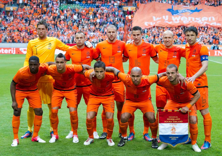 The Netherlands soccer team poses for a photograph ahead of their friendly soccer match against Northern Ireland in Amsterdam